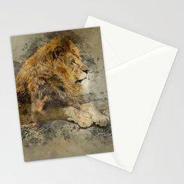 Lion on the rocks Stationery Cards