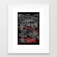 techno Framed Art Prints featuring Techno Cop by Slippytee Clothing