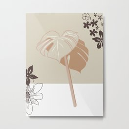 Botanical Beige abstract Metal Print