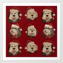 Santa Pups Art Print