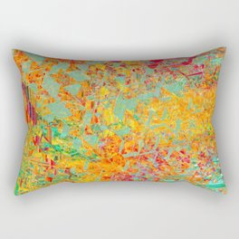psychedelic fractal geometric triangle abstract pattern in orange yellow green blue red Rectangular Pillow