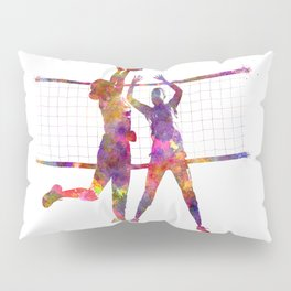 Women volleyball players in watercolor Pillow Sham