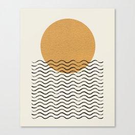 Ocean wave gold sunrise - mid century style Canvas Print
