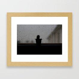 Rainy cactus Framed Art Print