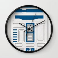 r2d2 Wall Clocks featuring R2D2 by Alison Lee