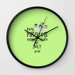 Real Pirates are born in JULY T-Shirt Dlmj8 Wall Clock