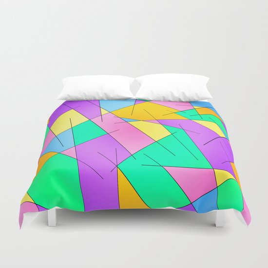 ABSTRACT LINES #1 (Multicolored Vivid) Duvet Cover