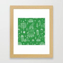 Santa Workshop Green Framed Art Print