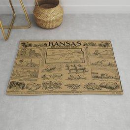 Vintage Illustrative Map of Kansas (1912) - Tan Rug