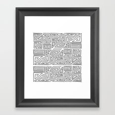 Black and white abstract geometric pattern . Framed Art Print