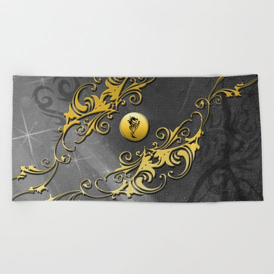 Awesome chinese dragon Beach Towel