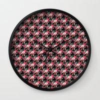 vampire weekend Wall Clocks featuring Vampire Weekend Floral Pattern by Harold's Visuals