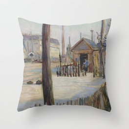 Railway Junction near Bois-Colombes Throw Pillow