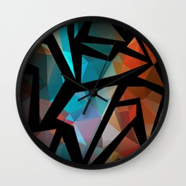 Abstract background of triangles polygon print. Wall Clock