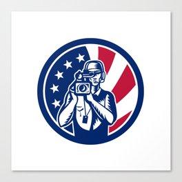 American Cameraman USA Flag Icon Canvas Print