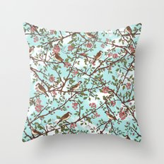 One Cloudy Day,  A Sparrow Tree -  Seamless Pattern Throw Pillow
