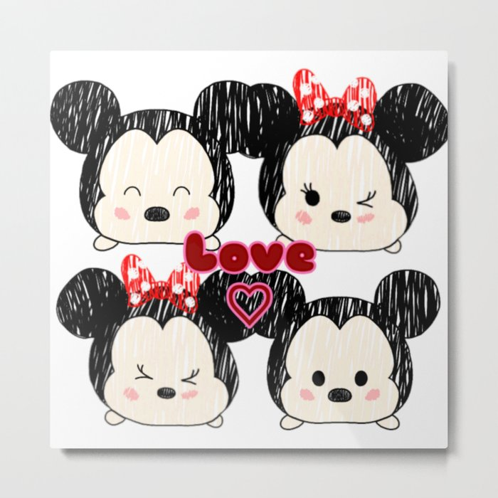 Mickey And Minnie Love Tsums Metal Print