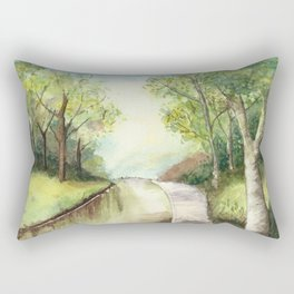 Trees by the canal Rectangular Pillow