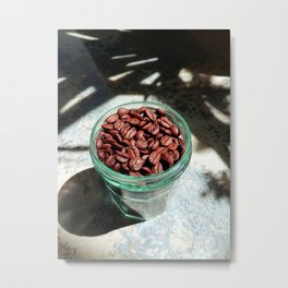 Coffee Beans in Manson Jar Metal Print