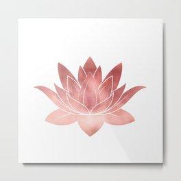 Pink Lotus Flower | Watercolor Texture Metal Print