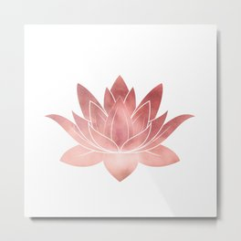 Pink Lotus Flower   Watercolor Texture Metal Print