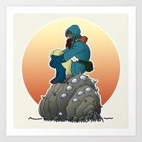 nausicaa Art Prints featuring Nausicaa & baby Ohmu taking a break... by kamonkey