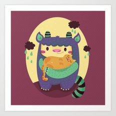 Monster and cat Art Print