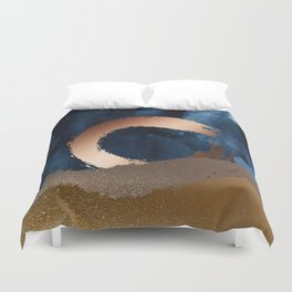 Navy Blue, Gold And Copper Abstract Art Duvet Cover