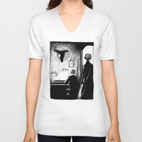 221b V-neck T-shirts featuring A 221B Scene by Carrianne Bullard