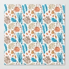Coral Reef Watercolor Pattern- Teal Canvas Print