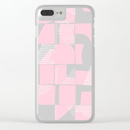 Blush and Gray Typographical Fragments Cheater Quilt Clear iPhone Case