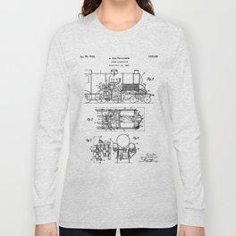 Steam Train Patent - Steam Locomotive Art - Black And White Long Sleeve T-shirt