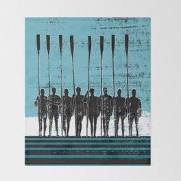 Rowing Crew in Black & Blue Throw Blanket
