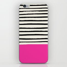 Bright Rose Pink x Stripes iPhone Skin