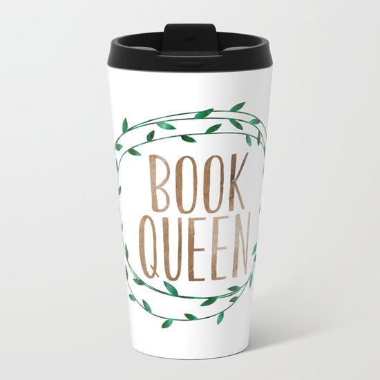 Book Queen Metal Travel Mug