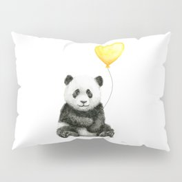 Panda with Yellow Balloon Baby Animal Watercolor Nursery Art Pillow Sham