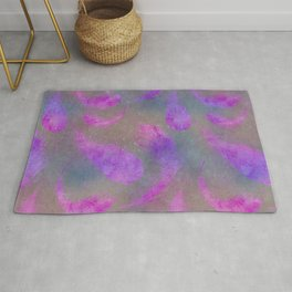 pink watercolor feather pattern Rug