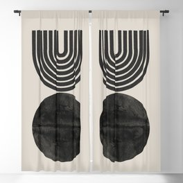 Woodblock Print, Modern Art Blackout Curtain