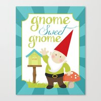 gnome Canvas Prints featuring Gnome sweet gnome by Ink Tree Press by Erin Rippy