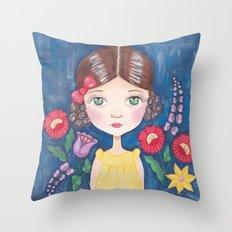 Hungarian girl on blue Throw Pillow
