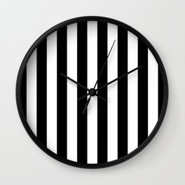 Parisian Black & White Stripes (vertical) Wall Clock