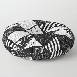 Crazy Patchwork (Abstract, black and white, geometric designs) Floor Pillow