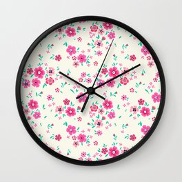 "Cute Floral pattern of small pink flowers. ""Ditsy print"". Wall Clock"