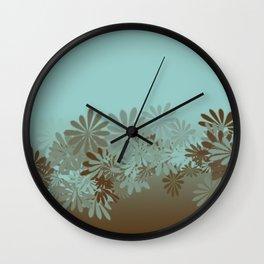 Teal and Tan Azalea pattern Wall Clock