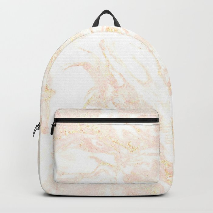 White Marble Pastel Pink and Gold by Nature Magick Backpack