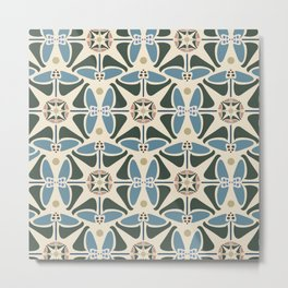 Blue Tulips - Circle Pattern Metal Print