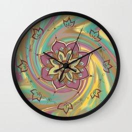 Floral Mandala hand drawn art, digitl, colorful Wall Clock