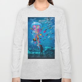 Electric Jellyfish in a Aquarium Long Sleeve T-shirt