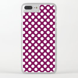 White and maroon polka dots Clear iPhone Case
