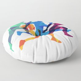 Colored silhouettes runners Floor Pillow